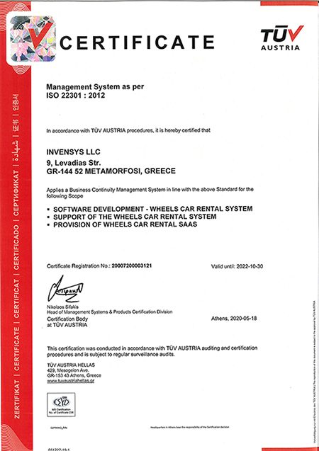 CERT_INVENSYS LLC_22301_2012_2020